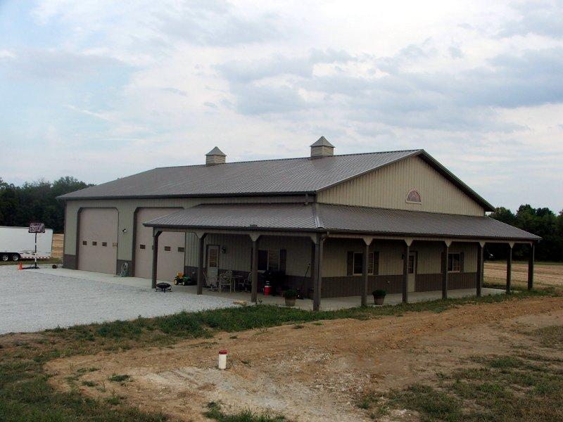 Wrap around porch comer buildings for Metal building house with wrap around porch