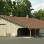 Equestrian 40' x 75' with 20' lean-to and shingled roof